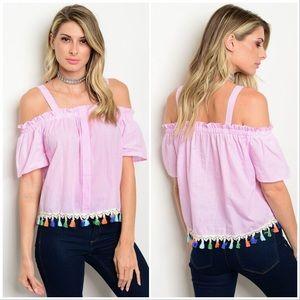 Pink White Off Shoulder Top